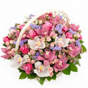 Сборная корзина орхидеи и розы R281