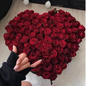 Сердце из 101 красной розы R509
